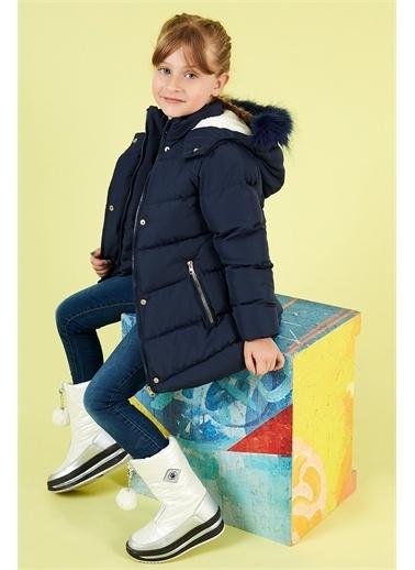 Lela Lela Yakası Suni Kürklü Kapüşonlu Şişme Mont Kız Çocuk   Lacivert